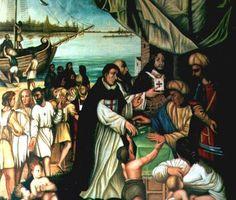Trinitario pagando para la redención de cristianos en Argel