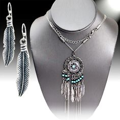 """COWGIRL 26"""" Necklace set DREAM CATCHER Feathers Turquoise Silver GYPSY WESTERN #davinci last one!"""