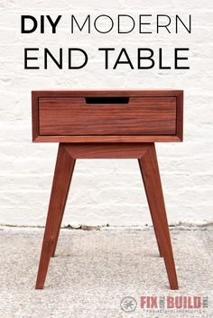 Modern DIY end table plans and tutorial with tips and tricks for a successful build. Learn how to make an end table with mitered corners and angled legs.