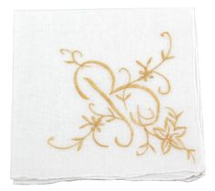 White Cotton Handkerchief with Large Monogram Embroidery in 4 Colors