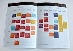 Great clean colorful layout,. nice idea for programmed/ schedule of events.