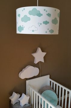 Bacon & Apples Wolk - Hanglamp - Mint Baby Zimmer, Home Deco, Baby Room, Creations, Nursery, Clouds, Lights, Etsy, Blog
