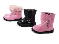 These cute little boots are perfect for keeping your little toddlers feet warm this winter  and only £9.99 or 2 for £18 or 3 for £25  Sizes 3 - 7  #footwear #boots #black #pink #buttons #fluffy #childrensshoes #fashion #cute #littlekickerskiddieshoes #LKKS