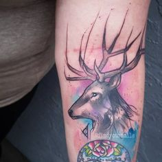 A fun lil Harry Potter tattoo today #watercolor #watercolortattoo #watercolour #watercolourtattoo #watercolortattoos #watercolourtattoos #tattoo #colortattoo #abstract #abstracttattoo #sketchtattoo #sketchytattoo #deer #deertattoo #stag #stagtattoo #harrypotter #harrypottertattoo #deathlyhallows #deathlyhallowstattoo #hogwarts #nerd #nerdlife #nerdtattoo #geek #geektattoo #electricink #electrumstencilprimer #electra #hhorlandotattoo @electricink @oneinkseven @hhorlandotattoo