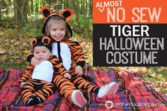 Use hot glue to create matching no sew #Halloween #costumes for toddler and baby! Spotofteadesigns.com