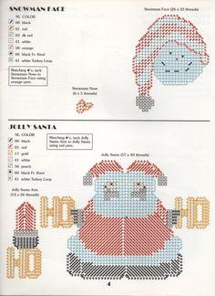 CHRISTMAS TREE ORNAMENTS PAGE 4 - SNOWMAN FACE AND JOLLY SANTA