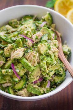 Avocado Tuna Salad Recipe (VIDEO) - NatashasKitchen.com Salad Recipes Video, Tuna Recipes, Chicken Salad Recipes, Avocado Recipes, Diet Recipes, Cooking Recipes, Healthy Recipes, Seafood Recipes, Recipe For Tuna Salad