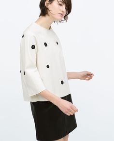 Image 3 of EMBROIDERED POLKA DOT TOP from Zara