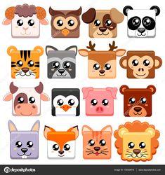 Illustration about Cute cartoon animals head square shape. Illustration of face, puppy, illustration - 92316240 Cartoon Drawings Of Animals, Cartoon Girl Drawing, Cute Cartoon Animals, Cute Animal Drawings, Cute Animals Puppies, Cute Baby Animals, Farm Animals, Square Drawing, Cartoon Head