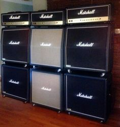 Vintage Marshall Stacks Made in 1975 & 1980 ∞ JCM 1960 Marshall Cabs and First Edition JCM 900 Marshall Amp Heads ★ Usa Customs, Guitar Collection, Good Music, Musicals, Amp, Guitars, Electric, Vintage, Studio