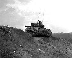 US Marine Corps Pershing tank near the Nakdong River Korea 3 September 1950.
