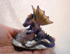Amethyst the purple dragon - polymer clay sculpture