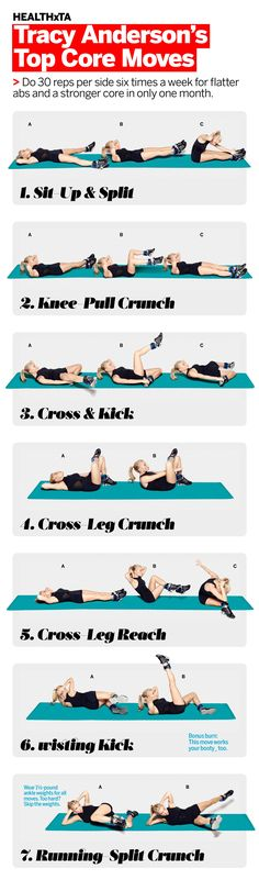 Tracy Anderson's Top Exercises for Flatter Abs and a Stronger Core: This seven-move series, created exclusively for Health readers by Tracy, is part of our 30-Day Core Challenge: Transform Your Butt, Back & Abs. It promises to do wonders for your waistline just in time for summer. #HEALTHxTA | Health.com