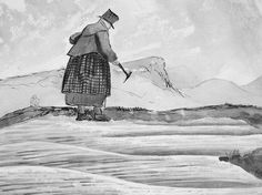 drawing_of_mary_anning_looking_for_fossils