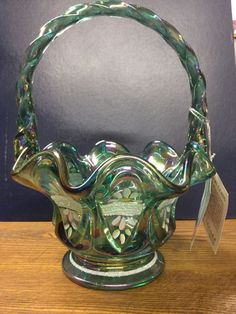 Fenton Emerald basket hand painted by D. Cutshaw