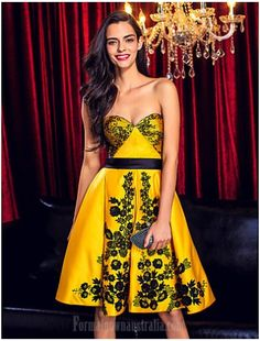 AUSTRALIA COCKTAIL PARTY DRESS DAFFODIL A-LINE SWEETHEART SHORT KNEE-LENGTH LACE SATIN - $99.99- #CouponCode: 10usdoff #formaldressesaustralia #cheapeveningdressesaustralia #cheapformaldressesonline #cheapformaldressesaustralia #formaldressesonline