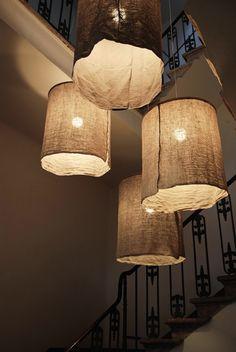 DIY: rustic linen lampshades