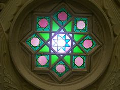 Stained Glass in Masjid al Nabawi  Little known fact: stained glass was made popular by Muslims. The Muslim scientist, Jabir ibn Hayyan found a way to make 46 different colors for glass in the 8th century.    Now stained glass is commonly associated with Christianity and churches. However, stained glass can be found in 2 of Islam's holiest mosques: Masjid al Aqsa in Jerusalem, and this stained glass in The Prophet's Mosque in Madina.