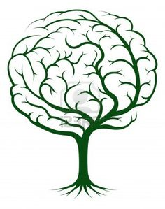 Brain tree illustration, tree of knowledge, medical, environmental or psychological concept Stock Photo