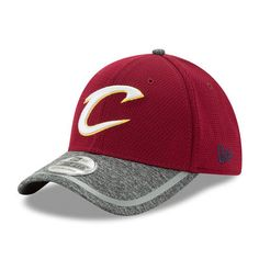 70fc548d33b1b Men s New Era Wine Heathered Gray Cleveland Cavaliers Training 39THIRTY  Flex Hat
