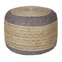 WOOOD poef sisal naturel met grijze rand 50x50x35 cm
