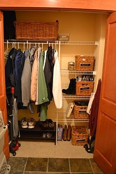 Thinking something similar for back closet - shelf for each member of the family, some hanging, a bucket for hats, and a shoe rack!