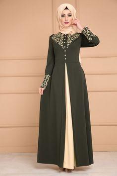 Çift Renkli Baskılı Elbise ASM2058 Haki
