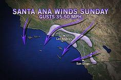 Strong Santa Ana Winds in Southern California