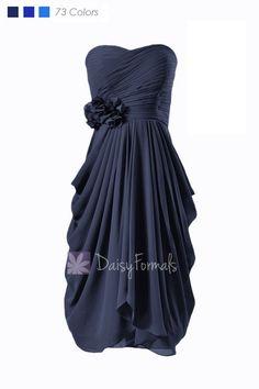 Sweetheart Short Chiffon Bridesmaid Dress Navy Blue Bridal Party Dress Formal Dress(BM332)