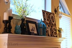 Mantle Decor ideas-black and white with pops of color! #DIYLori