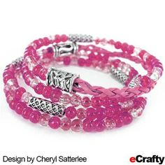 Cheryl combined Sparkle Beads and braided cord from eCrafty.com for this easy and elegant memory wire bracelet.  Memory wire is so versatile, especially for bracelets. Cheryl added our Bali style beads for a little extra touch of sophistication. #jewelry-supplies #diycrafts #diy #diyjewelry #etsy #bracelet #memorywire #beads #crafts #beading #pink#balibeads For easy instructions, a 20% instant savings coupon, clickable supplies list, and color variations, read on!