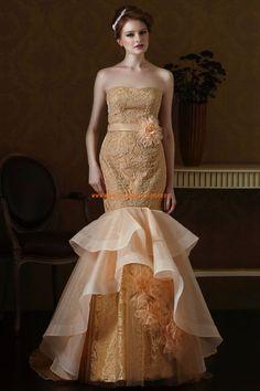 Eden Black Label Meerjungfrau Lange Brautkleider aus Organza mit Schleppe