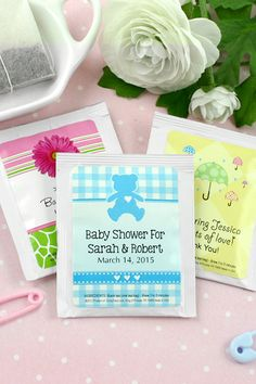 Really cute when paired with honey jars or when set out at a coffee and tea drink station.  Give your guests a moment of relaxation with personalized tea bags as baby shower favors. Your friends and family can take them home to enjoy as souvenirs and as a reminder of your shower. Each bag comes personalized with an adorable baby design and custom text. To order, visit http://www.tippytoad.com/personalized-baby-shower-tea-bag-favors.asp