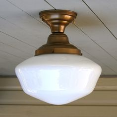 "Vintage, school house, flush mount, 6"" fitter size, single ceiling light. by vintageHome101 on Etsy"