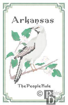 New to robinsdesign on Etsy: Arkansas State Bird Flower and Motto Cross Stitch Pattern PDF (5.00 USD)