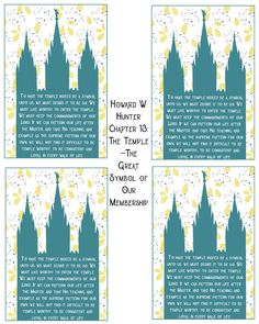 Howard W Hunter Chapter The Temple—The Great Symbol of Our Membership- Free Printable Relief Society Handouts, Young Women Handouts, Visiting Teaching, Free Printables, Symbols, Lds, Wisdom, Relief Society