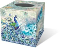 Paisley Peacock Tissue Box Cover: Punch Studio: FairyGlen.com