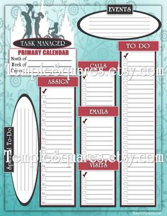 Printable Primary Presidency 2015 Calendar Planner ADD-ON pages. I Know My Savior Lives. Aqua LDS Lots of cool ADD-ON pages for birthdays, agendas, class membership lists, getting to know you questionnaires, contact lists, and task managers...  Temple TempleSquares.etsy.com