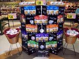 Your supermarket in-store displays need to be big enough to attract attention. Pretzel Crisps VP of Marketing suggests arranging the display based on the colors of the packaging and create vertical or horizontal blocks.