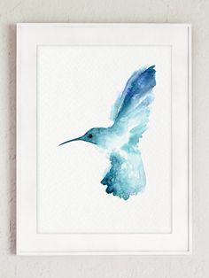 Hummingbird Watercolor Painting Blue Bird Wall by ColorWatercolor