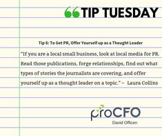 Take note of this #tip. #TipTuesday from David Officen #TipoftheDay #proCFOPerth #DavidOfficen #virtualCFO #BusinessImprovementAdvice #TuesdayPost  #B2B #businesstips  #business