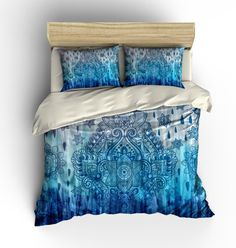 Boho Chic Bedding Duvet Cover Set Blue Tie Dye by FolkandFunky King Size Duvet Covers, Bed Duvet Covers, Boho Chic Bedding, Tie Dye Bedding, Nursery Bedding Sets Girl, Tie Dye Designs, Bed Styling, Dream Bedroom, Luxury Bedding