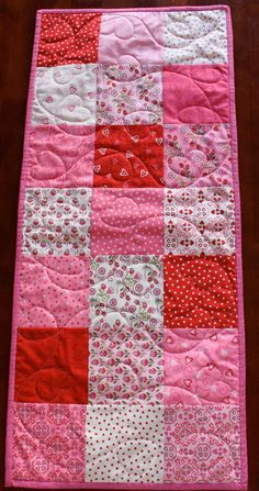 Quilted Valentine's Table Runner by JennyMsQuilts on Etsy