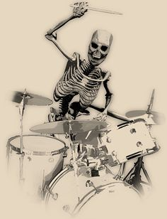 Well my favorite drummer is my cousin Justin who is freakin incredible and should be insanely famous but I guess CC from BVB or Mike from PTV would be my favs. Drummer Tattoo, Drums Quotes, Drum Drawing, Travis Barker, Skeleton Art, Drum Kits, Skull Art, Rock Art, Cool Bands