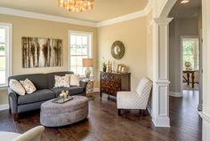 "Transitional Living Room with flush light, Hickory - Candy Apple Solid Hardwood Plank (3.25""/5""), Hardwood floors"