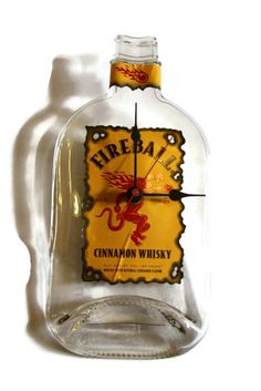 Fireball Whisky Wall Clock Recycled repurposed Glass by RayMels, $27.95