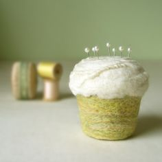 Pincushion  Felted Cupcake in Lemongrass by SmithDryGoodsShop