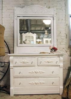 Vintage Painted Cottage Shabby White French Country Dresser