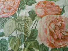 Antique Redoute Roses Fabric~Peach Pink Apricot Moss Green~Large Floral~England