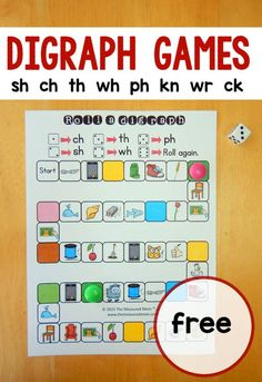 free games for teaching digraphs These five digraph games are great for teaching digraphs in kindergarten or first grade!These five digraph games are great for teaching digraphs in kindergarten or first grade! Phonics Activities, Kindergarten Literacy, Literacy Activities, Literacy Stations, Literacy Centers, Reading Games For Kindergarten, Writing Centers, Reading Centers, Free Phonics Games